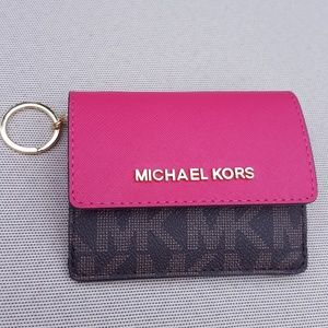 NWT Michael Kors card case key chain pink wallet